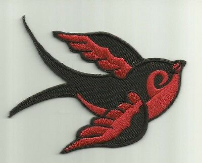 """Swallow"" Embroidered Patch Iron On 1950s ROCKABILLY Pin Up Punk Cherry TATTOO !"
