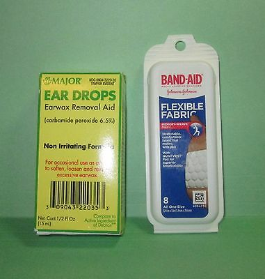 Major Ear Drops Earwax Removal-Plus Band-Aid Flexible Fabric Travel Pack