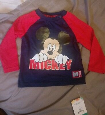 Disney Navy & Red Mickey Mouse Shirt 6-9 Months