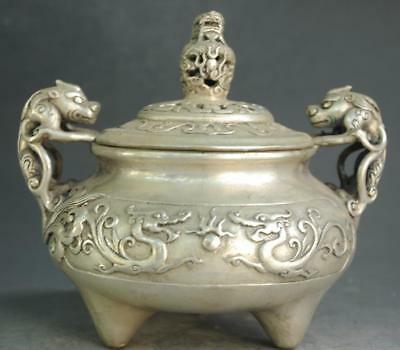 Chinese old copper plating silver carved Dragon Pi Xiu statue incense burner e01