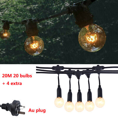 20m Festoon String Lights Kits Wedding Party Globe Type Waterproof Outdoor IP44