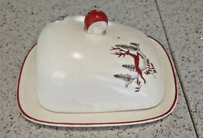 Crown Devon Stockholm Butter/Cheese Dish. Some staining