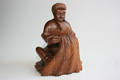 20th C. Chinese Cultural Revolution Period Wooden Carved Old Man Figurine Statue