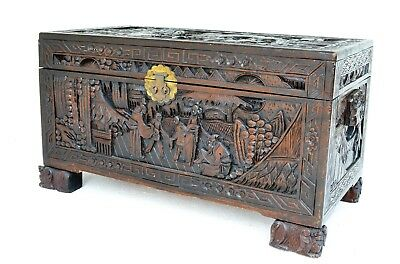 Antique Eastern Camphor Decorated Carved Wooden Blanket Box