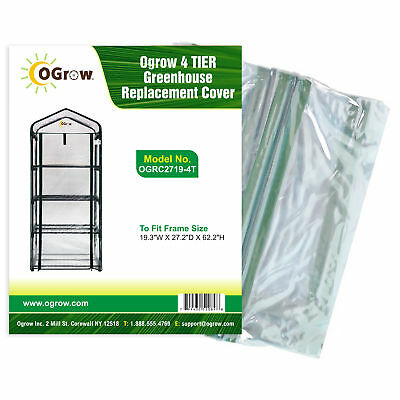 """4 TIER Greenhouse Replacement Cover - To Fit Frame Size 19.3""""W x 27.2""""D x 62.2""""H"""