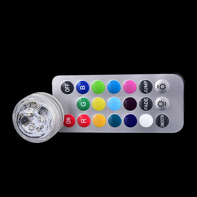 submersible light 3 led battery waterproof pool pond lighting remote control FG