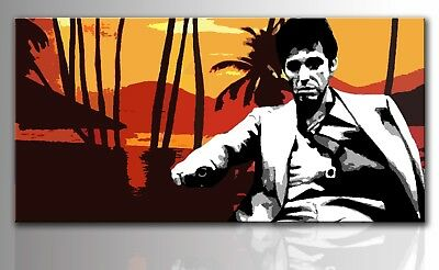 Quadro moderno dipinto a mano su tela idea regalo pop art cult movie Scarface