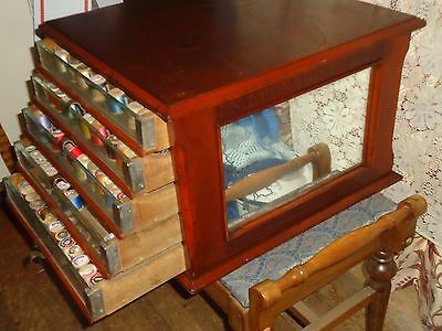Antique Spool Cabinet J.n. Leonards Sewing  Wood Cabinet Glass Sides 5 Drawer