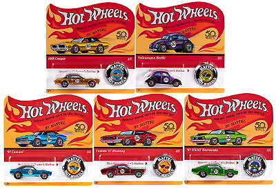 Hot Wheels 50Th Anniversary Redline With Button 5 Car Set Reday To Ship