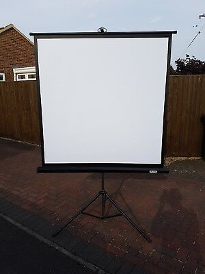 Portable Projector Screen On metal  Tripod Stand; very good condition.