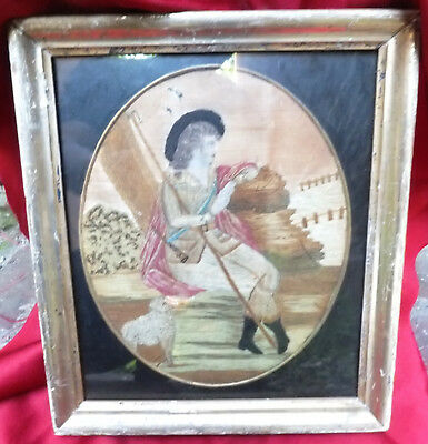 18th or early 19th century needlework picture of Shepherd & Crook, Pipe, & Sheep
