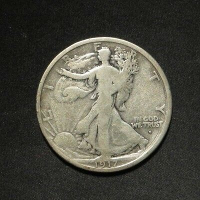 1917-D Obv Walking Liberty Half Dollar 50¢- VG