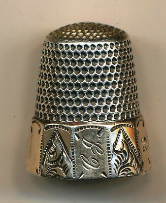 Antique, Size 10, Monogrammed Thimble With Etched, Flat Panels & Star Mark