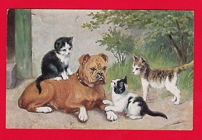 Carte Postale Old Postcard Cat CPA CHATS et CHIEN  BOULEDOGUE - cats dog