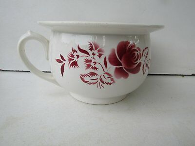 pot de chambre,vase de nuit en faience digoin-sarreguemines decor rose no 9334