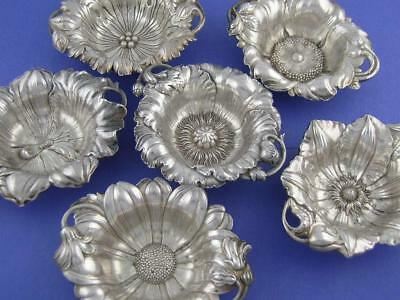 Wonderful 6 Sterling REED & BARTON Nut Dishes LES CINQ FLEURS Art Nouveau Fancy