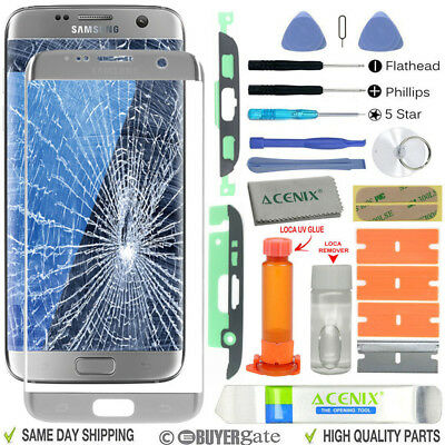 Samsung Galaxy S7 Edge Replacement Screen Front Glass lens Repair Kit SILVER UK
