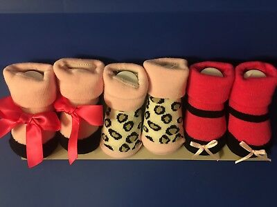 3 Baby Infant Girls Multicolored Shoe Socks Gift Set 0-9 Months