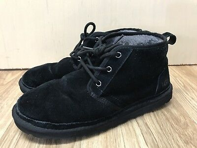 Ugg 3236 chukka boot Black suede leather shearling Shoes Mens Size 10