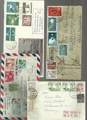 Japan 1950/60s airmail covers with superb frankings