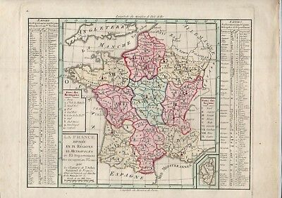 4 Cartes Atlas National Portatif 1791 83 Departements Iles Francaises Monde