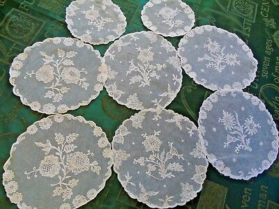 8 (EIGHT) Beautiful Embroidered Net Doilies...Flowers & Bows GC