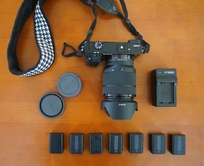 Sony a6000 Camera w New Sony 28-70mm Lens (SEL2870) + 7 Batteries + Charger