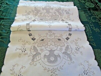 Beautiful Vintage Hand worked Madiera Embroidery Table/Dresser Runner GC