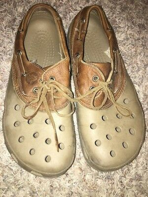 bce4ad8f9ba9c6 Mens 9M Crocs Islander Pitcrew Brown Leather Croslite Loafers Clogs Boat  Shoes