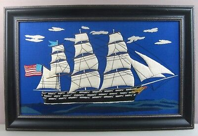 "USS LANCASTER W EAGLE FIGUREHEAD__30.5""x20""__Needlework/Wooley/Crewel_SHIPS FREE"