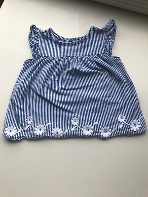 Baby Gap Shirt Top 12-18 Months Blue & White Stripes with Flowers