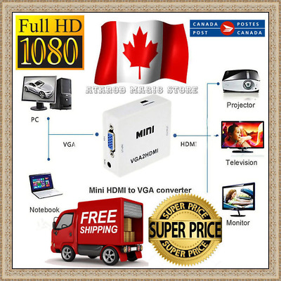 VGA to HDMI Converter Box Adapter for PC Laptop DVD HDTV Full HD Video 1080P