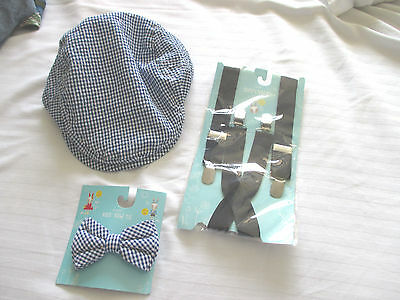 BOYS Blue Checked NEWSBOY HAT & Matching BOW TIE w/ Navy Blue SUSPENDERS~3+~NWT