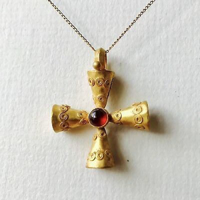 BEAUTIFUL Ancient Byzantine Gold Very Fine Decorated Cross Pendant With Garnet