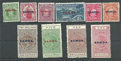 (950735) Samoa  1914,  10 stamps from, trace of hinge, fine, very fine