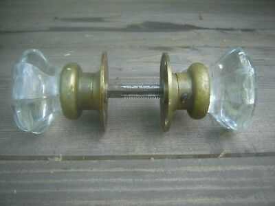 8 POINT Crystal Clear Glass Door Knob/Handle Antique/Vintage Knobs