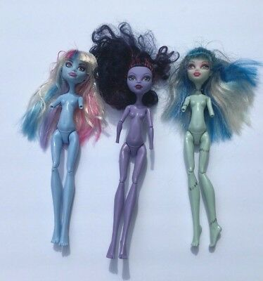 Lot of 3 Monster High Doll Replacement Nude Bodies (Torso, Upper Arms, & Legs)