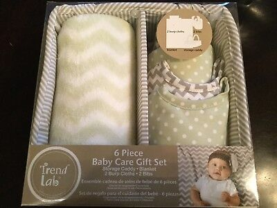 Trend Lab 6-piece Baby Care Gift Set Sage Green Towels pWhite FREE SHIPPING