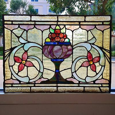 A+ Antique American Victorian Fruit+Floral Leaded Stained Jewelled Glass Window