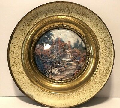 """Vintage Solid Brass Wall Plate With Foil Print Cottage Scenery ,England 11"""" Diam"""