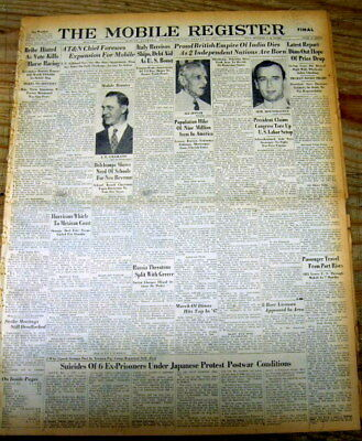 1947 display newspaper INDIA & PAKISTAN begin INDEPENDENCE from GREAT BRITAIN