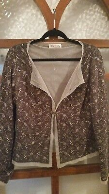 Gorgeous embroidered sequinned wool cardigan . `Moss & Spy` label. size 14