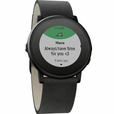 Pebble Time Round Smart Watch iPhone/Android - Black w/ 20mm leather band