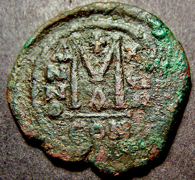 MAURICE TIBERIUS, Christian Crosses Constantinople, LARGE Byzantine Emperor Coin