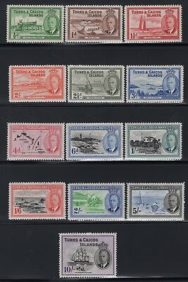 1950 Turks & Caicos. SC#105-17, SG#221-33. Mint, Lightly Hinged, Very Fine.