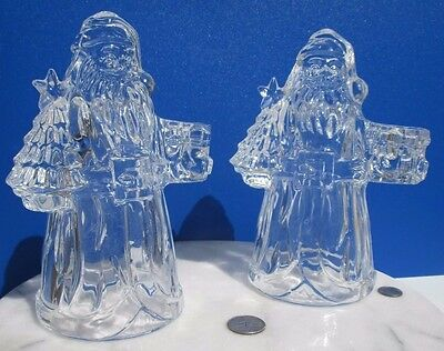 Set of 2 Heavy Clear Crystal Glass Santa Claus Figurine Candlestick Holders!