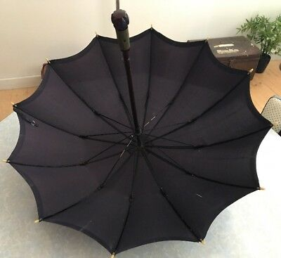 Vintage British Make Armstrong Black Umbrella Parasol Bakelite Wood Metal Frame