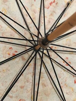 Vintage Sun British Made Floral Umbrella Parasol Bakelite Wood Metal Frame