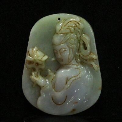 Chinese Exquisite Hand-carved beauty carving Jadeite jade Pendant