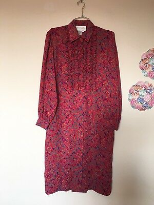 Vintage Schrader Colorful Bright Ruffle Front Sheer Button Down Maxi Dress SZ 8